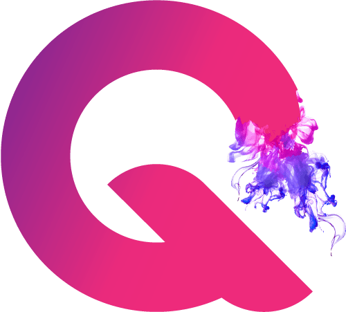 Quinnee logo Design. Pink and Purple letter Q